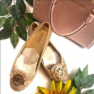 Michael Kors Cutout Fulton Gold Logo Flats Loafers